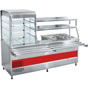 Мини-линия раздачи: прилавок-витрина холодильный слева, мармит универсальный, L2.28м, нерж.сталь