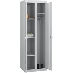 Шкаф для уборочного инвентаря,  600х500х1850мм, 2 секции, 2 двери распашные, 4 полки, 2 крючка, 2 замка, краш.металл серый RAL7035, собранный