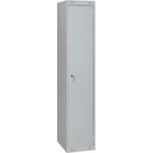 Шкаф для одежды,  400х490х1850мм, 2 секции, 1 дверь распашная, 2 перекладины, 1 полка, 1 замок, краш.металл серый RAL7035, собранный