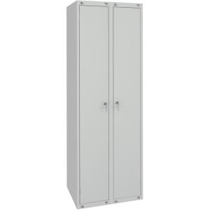 Шкаф для одежды,  500х490х1850мм, 2 секции, 2 двери распашные, 2 полки, 2 перекладины, 4 крючка, 2 замка, краш.металл серый RAL7035, собранный
