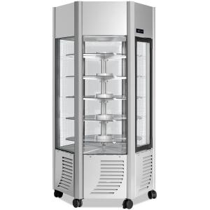 Витрина морозильная напольная, вертикальная, L0.90м, 5 полок, -5/-20С, дин.охл., серебро, 6-ти стороннее остекление