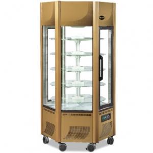 Витрина морозильная напольная, вертикальная, L0.90м, 5 полок, -5/-20С, дин.охл., золотая, 6-ти стороннее остекление
