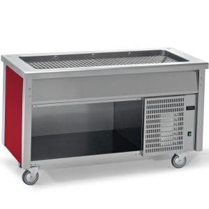 Прилавок раздаточный для холодных блюд, L1.20м, 3GN1/1-30, стенд полузакрытый без двери, нерж.сталь, передвижной