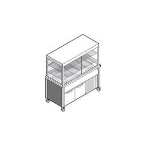 Витрина холодильная напольная, вертикальная, L1.50м, 2 полки-решетки, +4/+12С, нерж.сталь, дин.+стат.охл., шкаф охлажд., 6 откидных дверок, передв.