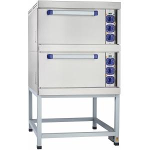 Шкаф электрический жарочный, 2 камеры, 8х(530х470мм), электромех.управление, корпус (лицевая часть) нерж.сталь, 380V, стенд открытый, камера нерж.