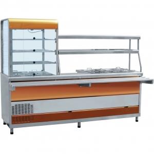 Мини-линия раздачи: прилавок-витрина холодильный слева, мармит универсальный, L2.28м, красное золото