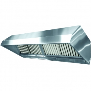 Зонт вытяжной островной, 2251х900х450мм, лаб.фильтры, кепкой, нерж.сталь, подсветка, без отверстия, 2 вентилятора