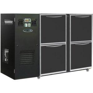 Модуль барный холодильный, 1240х540х850мм, без борта, 4 ящика глухих, ножки, +2/+8С, темно-серый, дин.охл., агрегат слева, R290