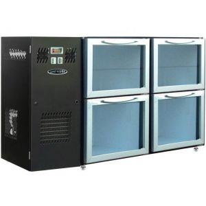 Модуль барный холодильный, 1240х540х850мм, без борта, 4 ящика стекло, ножки, +2/+8С, темно-серый, дин.охл., агрегат слева, R290