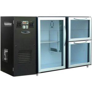 Модуль барный холодильный, 1240х540х850мм, без борта, 1 дверь стекло+2 ящика стекло, ножки, +2/+8С, темно-серый, дин.охл., агрегат слева, R290