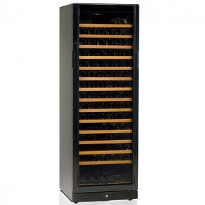 Шкаф холодильный д/вина, 166бут. (370л), 1 дверь стекло, 15 полок, ножки, +5/+18С, стат.охл.+вент., черный
