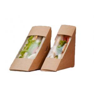 Коробка для сэндвича 130x130x70мм картон крафт, 500шт
