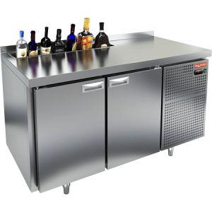 Модуль барный холодильный, 1390х700х850мм, борт, 2 двери глухие, карман для бутылок, ножки, +2/+10С, нерж.сталь, дин.охл., агрегат справа