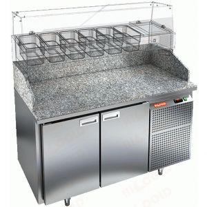Стол холодильный для пиццы, GN1/1, L1.39м, 2 двери глухие, ножки, +2/+10С, нерж.сталь, дин.охл., агрегат справа, гранит.пов.