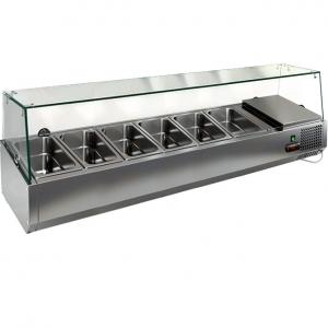 Витрина холодильная настольная, горизонтальная, для топпингов, L1.39м, 6GN1/3, +2/+7С, стат.охл., верхняя структура стекло, для стола PZ3