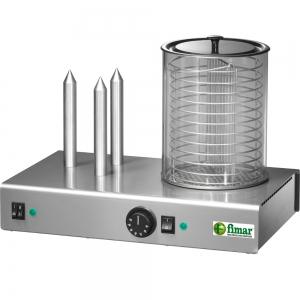 Аппарат для хот-догов паровой, настольный, цилиндр для сосисок, 3 штыря для булочек, электромех.управление, корпус нерж.сталь