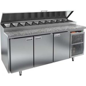 Стол холодильный для пиццы, GN1/1, L1.84м, 3 двери глухие, ножки, +2/+10С, нерж.сталь, дин.охл., агрегат справа, короб 11GN1/6, гранит.пов.