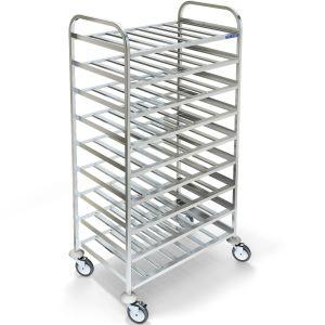 Шпилька-стеллаж для подносов 450х325мм, 9 полок-решёток, одинарная, открытая, нерж.сталь 304, колеса, сварная, гнутая