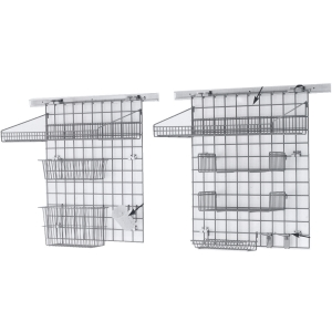Система хранения настенная: 2 решётки, 4 полки-решётки, 2 корзины, стакан, 2 крючка, 2 держателя, кронштейны, сталь с покрытием Metroseal3-Microban
