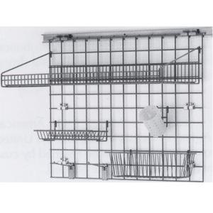 Система хранения настенная: 1 решётка, 1 полка-решётка, 1 корзина, 1 стакан, 2 крючка, 2 держателя, кронштейны, сталь с покрытием Metroseal3-Microban,