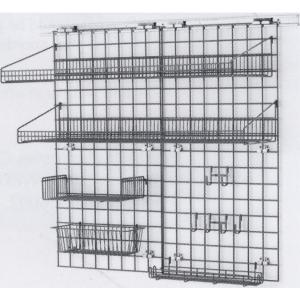 Система хранения настенная: 2 решётки, 4 полки-решётки, 1 корзина, 6 крючков, кронштейны, сталь с покрытием Metroseal3-Microban, для влажных помещений