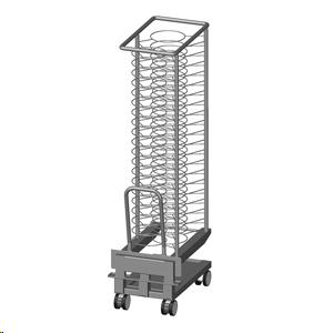 Тележка-шпилька вкатная банкетная для пароконвектоматов 201 Naboo и Sapiens, шкафов MTP, регенер. RTP, для тарелок D310мм (60шт.), нерж.сталь, поддон