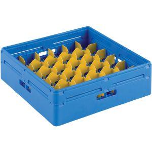 Корзина посудомоечная для стаканов, 500х500мм, пластик синий, вместимость 36 стаканов H120мм