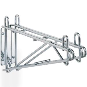 Кронштейн настенный двойной серединный для 2-х полок глубиной 355мм, сталь с покрытием хромоникелевым, для сухих помещений