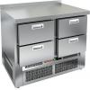Стол холодильный, GN1/1, L1.00м, борт H50мм, 4 ящика, ножки, -2/+10С, нерж.сталь, дин.охл., агрегат нижний