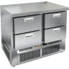 Стол морозильный, GN1/1, L1.00м, б/борта, 4 ящика, ножки, -10/-18С, нерж.сталь, дин.охл., агрегат нижний