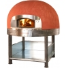 Печь дровяная, 1 камера, под 1.33м2 камень сплошной, термометр аналоговый, купол круглый красный, дверь сталь, подставка