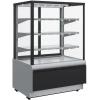 Витрина холодильная напольная, горизонтальная, L0.90м, 3 полки, 0/+7С, дин.охл., черно-серая, стекло фронтальное прямое, подсветка, стеклопак