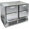 Стол холодильный, GN1/1, L1.00м, б/столешницы, 4 ящика, ножки, -2/+10С, нерж.сталь, дин.охл., агрегат нижний