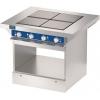 Плита электрическая, 4 конфорки квадратные, поверхность стальная сплошная, стенд полузакрытый сквозной