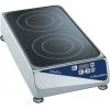 Плита электрическая индукционная, 2 конфорки круглые, поверхность стеклокерамическая сплошная, настольная, продольное расположение