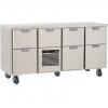 Стол холодильный для напитков, L1.66м, без борта, 7 выд.секц., ролики, +2/+15С, нерж.сталь, дин.охл., агрегат центр.