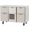 Стол холодильный для напитков, L1.26м, без борта, 5 выд.секц., ролики, +2/+15С, нерж.сталь, дин.охл., агрегат центр.