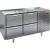Стол холодильный, GN1/1, L1.39м, без столешницы, 4 ящика, ножки, -2/+10С, нерж.сталь, дин.охл., агрегат справа
