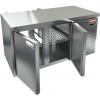 Стол холодильный сквозной, GN1/1, L1.39м, б/борта, 4 двери глухие, ролики, -2/+10С, нерж.сталь, дин.охл., агрегат справа