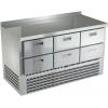 Стол холодильный, GN1/1, L1.49м, борт H50мм, 6 ящиков, ножки, -2/+10С, нерж.сталь, дин.охл., агрегат нижний