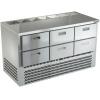 Стол холодильный саладетта, GN1/1, L1.49м, б/борта, 6 ящиков, ножки, +2/+10С, нерж. сталь, дин. охл., агрегат нижний, гнездо 7GN1/6, б/крышки