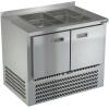 Стол холодильный саладетта, GN1/1, L1.00м, борт Н50мм, 2 двери глухие, ножки, +2/+10С, нерж. сталь, дин. охл., агрегат нижний, гнездо 2GN1/1, без крыш