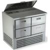 Стол холодильный саладетта, GN1/1, L1.00м, б/борта, 4 ящика, ножки, +2/+10С, нерж.сталь, дин.охл., агрегат нижний, гнездо 5GN1/6, крышка