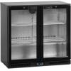 Стол холодильный для напитков, 191л, 2 двери стекло распашные, 4 полки 395х330мм, ножки, +2/+10С, чёрный, стат.охл.+вентилятор, R600a, подсветка