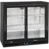 Стол холодильный для напитков, 191л, 2 двери-купе стекло, 4 полки 395х330мм, ножки, +2/+10С, чёрный, стат.охл.+вентилятор, R600a, подсветка