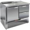 Стол холодильный саладетта, GN2/3, L1.00м, без борта, 1 дверь глухая+2 ящика, ножки, +2/+10С, нерж.сталь, дин.охл., агрегат нижний, гнездо 5GN1/6,крыш