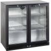 Стол холодильный для напитков, 196л, 2 двери стекло распашные, 4 полки 395х330мм, ножки, +2/+10С, чёрный, дин.охл., подсветка, R600a