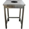 Стол производственный для сбора отходов,  700х600х850мм, без борта, открытый, обвязка с 3-х сторон, нерж.сталь 430, сварной, отв. D200мм центр., рез.к