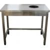 Стол производственный для сбора отходов,  900х600х850мм, без борта, открытый, обвязка с 3-х сторон, нерж.сталь 430, сварной, отв. D200мм справа, рез.к