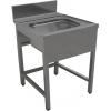 Стол входной для машин посудомоечных, L0.70м, 1 борт, 4 ножки, 1 мойка 500х400х250мм, правый, нерж.сталь 430, сварной, обвязка с 3-х сторон, фартук фр
